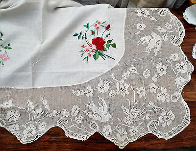 Vintage Lace And Embroidery Tablecloth