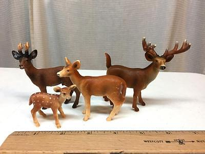 SCHLEICH Lot of 4 Forest DEER Animals Doe Buck Fawn MALE Female Zoo - NICE SET!