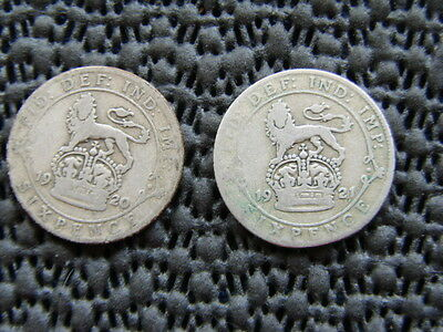 George V.  silver Sixpence 1920  & 1921.