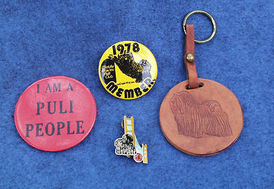 Hungarian Puli Vintage Collection Lot Of 4 Dog Show Pins And Leather Key Holder