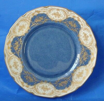 Vintage Royal Doulton Stipple Blue and Gold Plate 1928