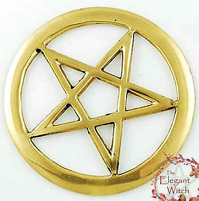 """Openwork Pentacle Altar Tile Ornament Talisman 3"""" Golden Brass Wiccan Witch"""