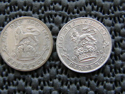 George V.  silver SIXPENCE 1924  & 1925.