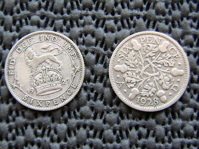 George V.  silver Sixpence 1927 & 1928.