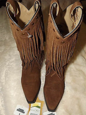 Smoky Mountain womens western boots NWT brown suede with fringe size 5D