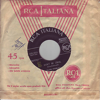 "Elvis Presley ""don't Be Cruel""rca Italiana First Press Copertina Generica 45"