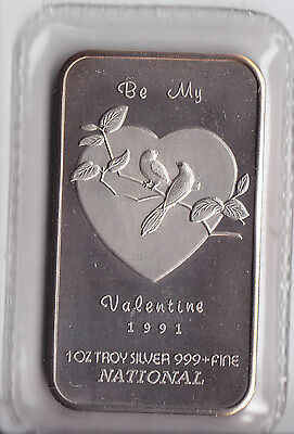 1991 Be my Valentine National .999 Fine Silver Art Bar - Sealed