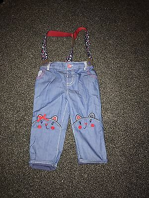 Brand New Girls Trousers With Braces Size 9-12 Months M&Co