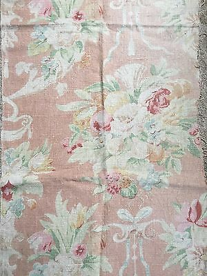 Beautiful Faded Antique French Floral Fabric