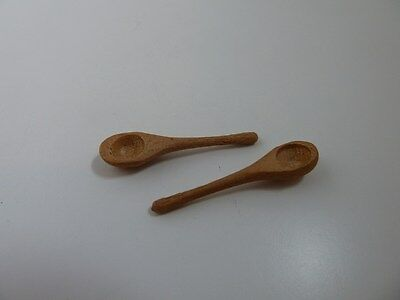 Dolls House Miniature 1:12th Scale Kitchen Accessory 2 Wooden Spoons (KA089)