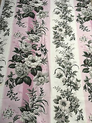Large Piece Of Beautiful Vintage Floral Fabric