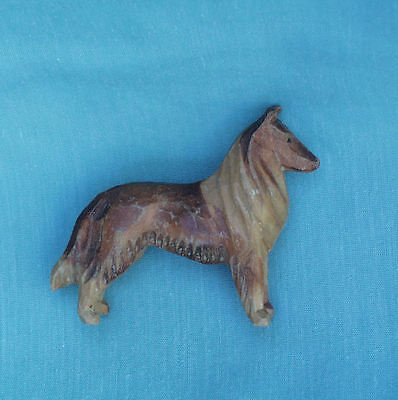 ANTIQUE MINIATURE HAND CARVED WOOD COLLIE DOG WOODEN FIGURE EARLY 1900's, SIGNED