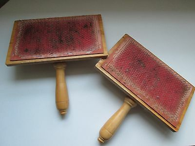 Wool Carders (pair) Flat. For Spinning, Felting and Textile Crafts - Used