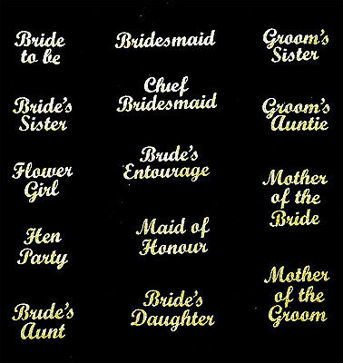 wedding bridesmaid transfer iron on t shirt hen party gold glitter patch letters