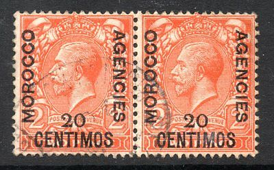 Morocco Agencies: 1914 KGV 20c. on 2d horiz. pair SG 132 used