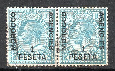 Morocco Agencies: 1914 KGV 1 Pia. on 10d horiz. pair SG 135 used