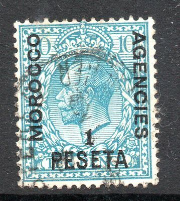 Morocco Agencies: 1914 KGV 1 Pia. on 10d SG 135 used