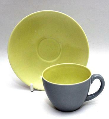 Poole Pottery Twintone C102 Lime Yellow & Moonstone Grey Coffee Cup & Saucer