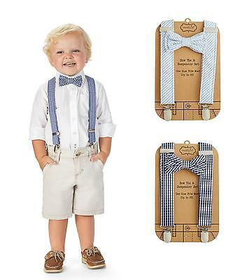 Mud Pie MK6 Little Gentlemen Baby Boy Blue Bow Tie & Suspender Set 1582136