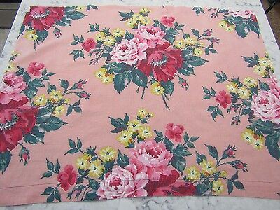 Vintage Antique 1940's WWII Large Floral Cotton Fabric with Cabbage Roses