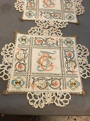 12 Antique Lace Doily Embroidery Silk Monogram & Flowers Square Napkin #2