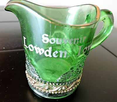 Vintage Souvenir Green Glass Small Pitcher / Creamer --- Lowden, Iowa
