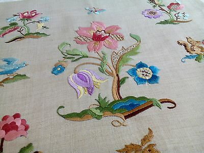 Stunning vintage Jacobean style hand embroidered floral linen cushion cover vgc