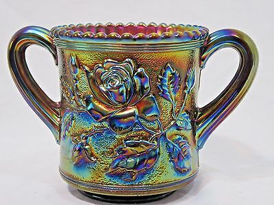 Imperial Carnival Glass Open Rose Lustre Spooner Purple Unmarked Double Handle