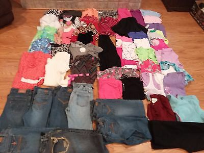 Girls Clothing Size 10 & 12 Jeans Shirts Dresses Shorts 50 pc lot NICE see pics