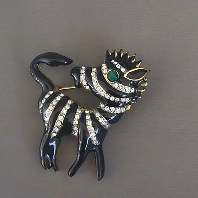 Vintage Zebra In Black Enamel On Hold Tone Metal W/Crystals Brooch
