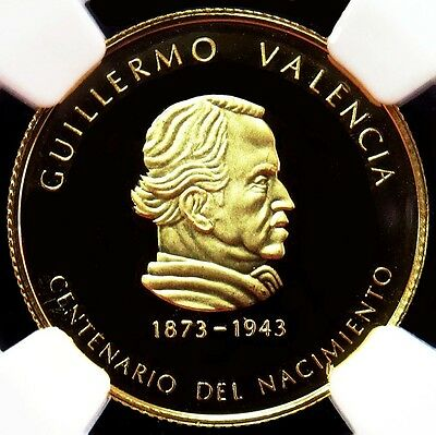 1973 GOLD COLOMBIA 1000 PESOS 100th ANNIV. GUILLERMO VALENCIA NGC PROOF 67 UC