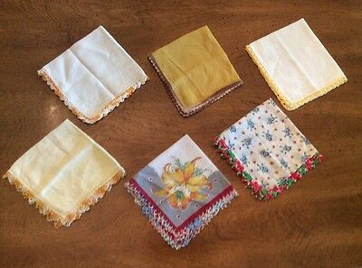 Vintage Handkerchiefs Hanky Lot Of 6 Crochet Tatted Lace Edge Embroidered