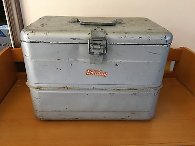 Vintage Ice Chest Cooler Holiday Brand, Ice Pick, Tray, Zinc Lined Galvanized