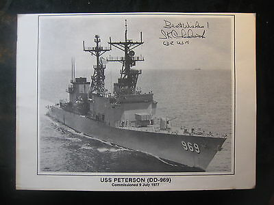 Vintage US Navy 8 x 11 Photo USS Peterson Signed By Commanding Officer 1012