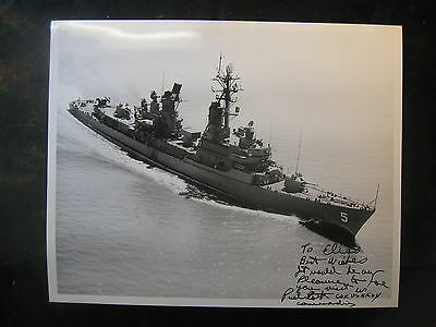 Vintage US Navy 8 x 10 Photo USS Biddle DDG-5 Signed By Commanding Officer 1002