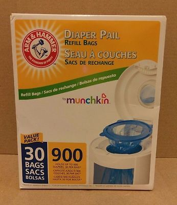 NEW Munchkin Arm & Hammer Diaper Pail Refill Bags 30 Count Value Pack NIB