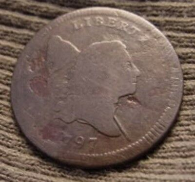 1797 Half Cent LIBERTY CAP 1/2¢ Good Condition Off Center Rare Only 127,840 Made