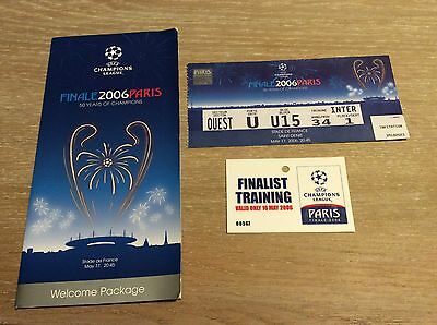UEFA Champions League Final Ticket Paris 2006 + Welcome Folder + Training pass