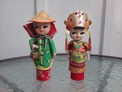 Asian Art Doll Boy Girl Set Mandarin Cloth Chinese Made Oriental Vintage 1960s