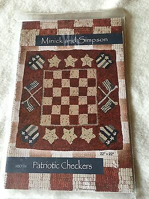 """PRIMITIVE PUNCH NEEDLE RUG PATTERN ~ """"Patriotic Checkers""""- 22""""x22"""""""