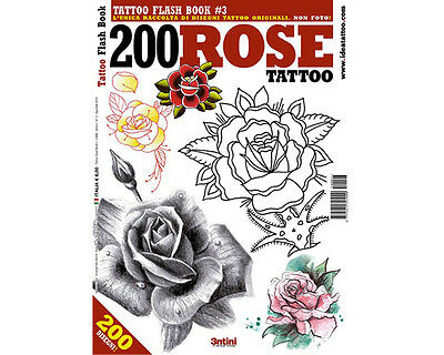 200 ROSES Tattoo Flash Design Book 65-Pages Sketch Black Color Ink Art Supply