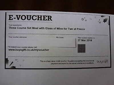 Unwanted Buyagift Prezzo 3 Course Meal With Wine For Two Voucher
