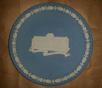Wedgwood white on blue plate, 6 and a 1/2 inch. Excellent condition.