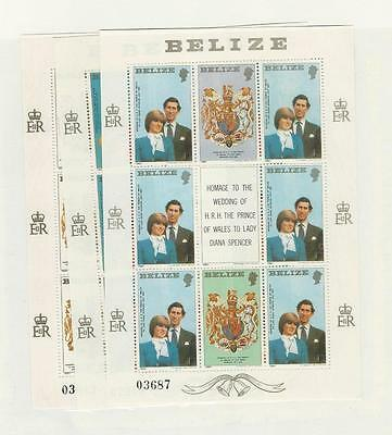 Belize, Postage Stamp, #551-553 Mint NH Sheets, 1981 Princess Diana