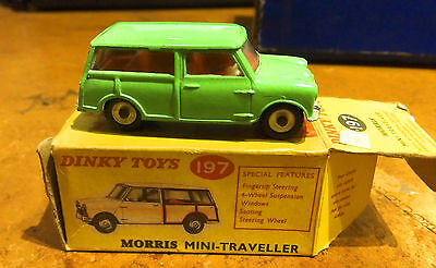 Vintage Dinky Morris Mini Traveller No 197 Very rare Bright Green with box