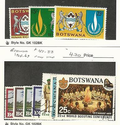 Botswana, Postage Stamp, #40-42 Mint NH, 47-53 Used, 1968-69