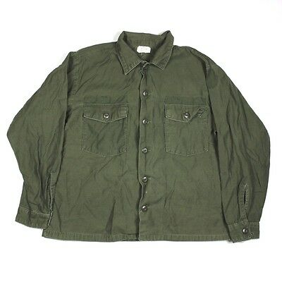 Us Army Og-107 Cotton Sateen Fatigue Shirt Jacket - 17 1/2 X 34 Large