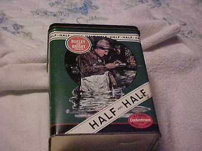 Old Half And Half Tobacco Tin Large Size Fishing Dogs Guns Bowl And Pipe Nr