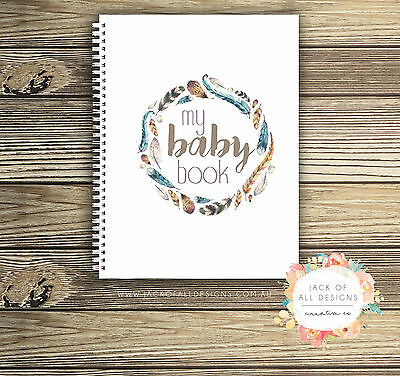 Baby Record Book - Unisex - Boho Feathers Watercolour - Basic