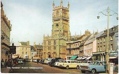 Cirencester, Gloucestershire - Market Place, old cars - Salmon postcard c.1960s